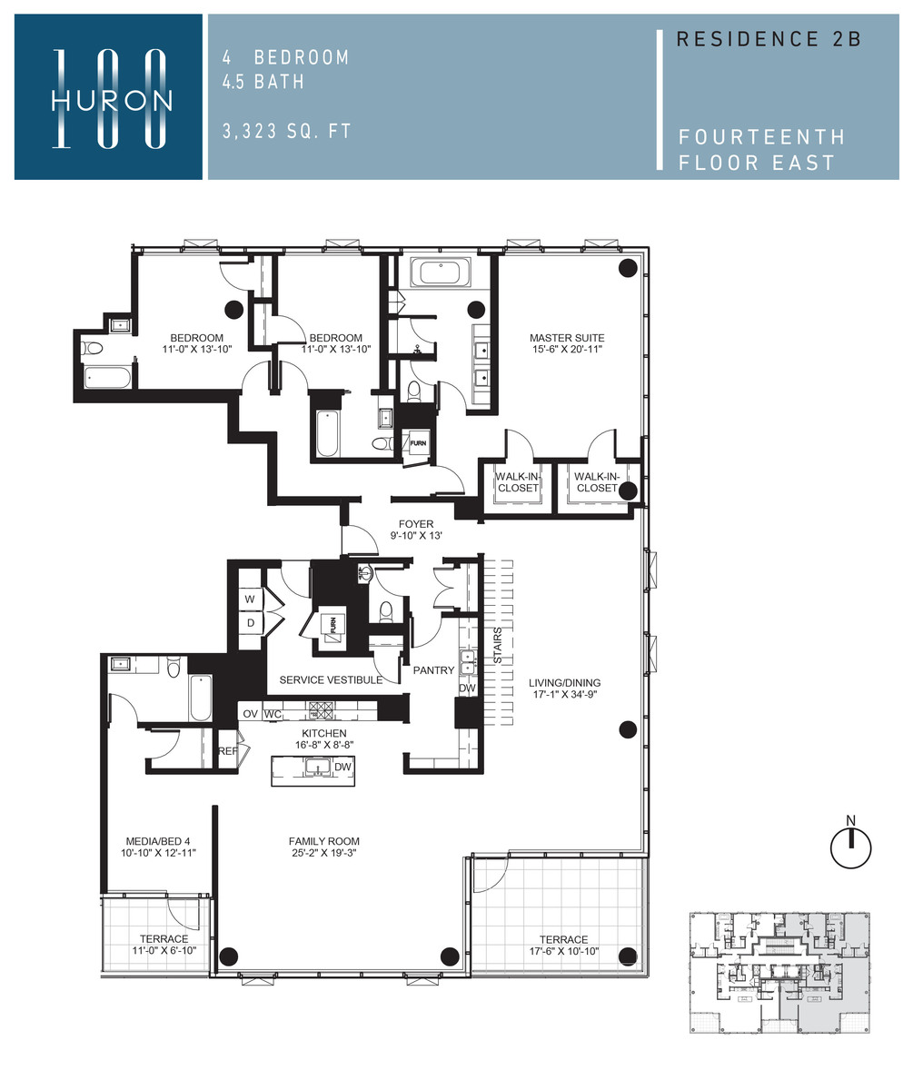 A look at 100 w huron floor plans 100 w huron condos for Condo blueprints
